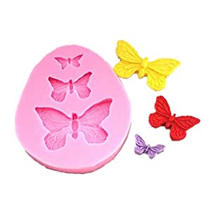 Allforhome 3 Cavity small Butterfly Silicone Sugar Resin Craft DIY Moulds DIY gum paste flowers Cake Decorating Fondant Mold