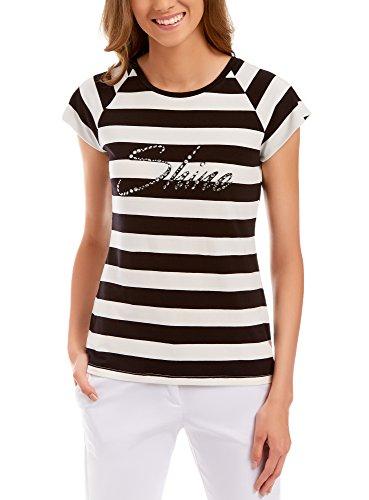 oodji Collection Damen Viskose-T-Shirt mit Strasssteinen, Weiß, DE 34/EU 36/XS (Polo-shirt Weiß-gestreiften)