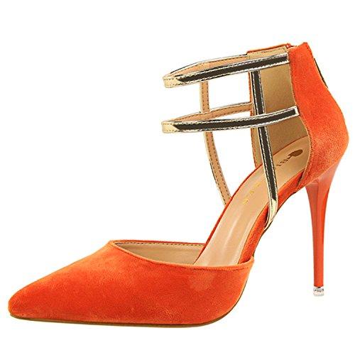 Oasap Women's Pointed Toe Ankle Strap Back Zipper Stiletto Sandals Orange