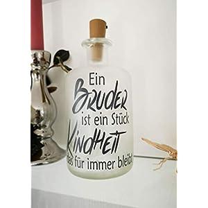 AScreativ Dekoflasche mit Beleuchtung - Bruder LED Leuchte Leuchtflasche Bottlelight Lichterkette Geschenk Flaschenlicht Homedeco modern
