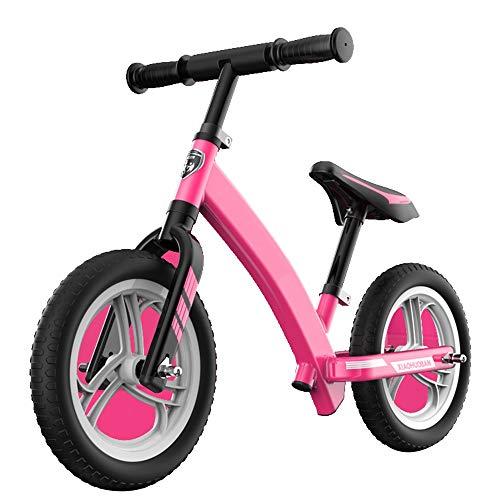 YUMEIGE Laufräder Kids Balance Bike Classic Leichte Kleinkinder ohne Pedal Walking Fahrrad Höhenverstellbarer Sitz Kleinkind Push Bike Sicherheitsgrenze Vorderkopf 170 ° (Color : Pink)