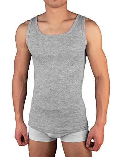 4er Pack Herren Unterhemd Achselshirt Tank Top aus 100% Baumwolle feinripp (glatt) in weiß, grau oder schwarz (3 / L, Grau)