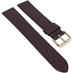 Minott Replacement Watch Strap Leather Band XL Dark Brown Seamless Soft Smooth 29683, Width: 18 mm, Clasp: Golden Bridge
