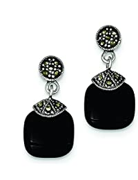 Sterling Silver Simulated Onyx and Marcasite Earrings