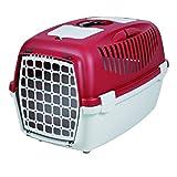 Trixie - Cage Transport Chien/chat - Capri 1 - 32 X 48 Cm - Gris Clair Et Rouge