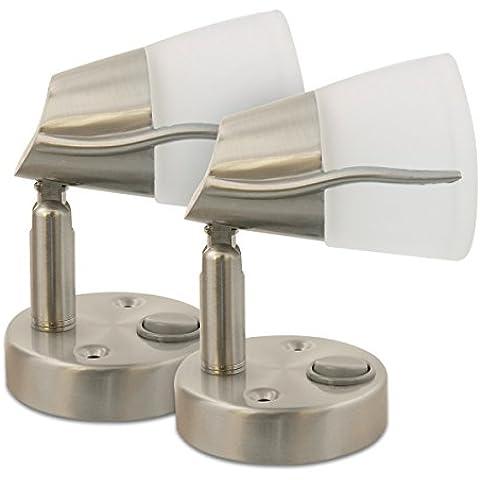 2X Dream Lighting 12V LED del vidrio esmerilado de Luz de Lectura Giratoria para el interior de Coche/Auto/Remolque/Caravana/Marina/Yate, blanco