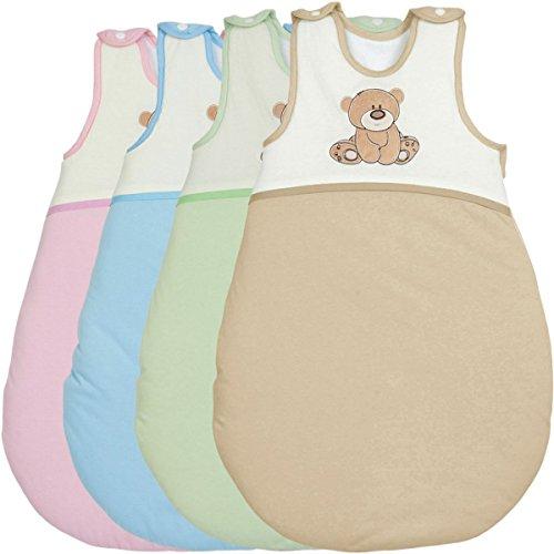 Schlafsack / Winterschlafsack (100% Baumwolle) SPIELBÄR mit (Membran-Einsätze) Baby Kind (70 cm, GRÜN)