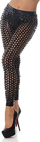 Mesdames Leggings Découpes GoGo cuir design trou mouillé briller regard noir 40-42