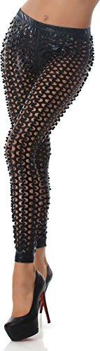 Mesdames-Leggings-Dcoupes-GoGo-cuir-design-trou-mouill-briller-regard-noir-40-42