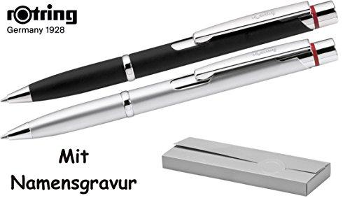 Rotring Kugelschreiber Modell MADRID in Edelstahl oder Schwarz, mit GRAVUR + 1 Systemmine schwarz extra, inkl. Geschenkverpackung
