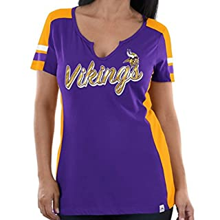 Minnesota Vikings Women's Majestic NFL Pride Playing 2 V-notch Fashion Top Shirt