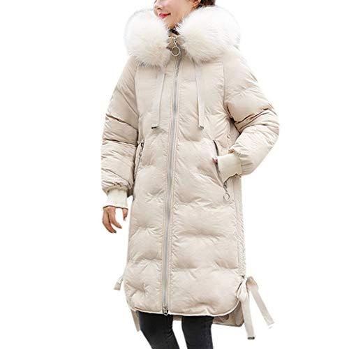 Eucoo cappotto invernale da donna lungo cappotto con cappuccio in pelliccia sintetica piumino parka soprabito taglie forti
