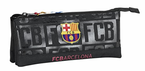 Futbol Club Barcelona-FC Barcelona Estuche portatodo Triple Color Negro, 22 cm (SAFTA 811725744)