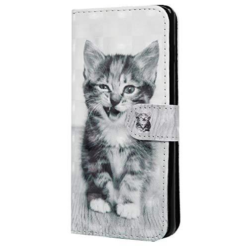S10 Handytasche Kompatible für Samsung Galaxy S10 Hülle 3D Glitzer Muster PU Leder Tasche Handyhülle Wallet Flip Case Cover Mädchen Schutzhülle Skin Ständer Klappbar Schale Bumper Magnet Deckel-Katze - Wallet Skin Case
