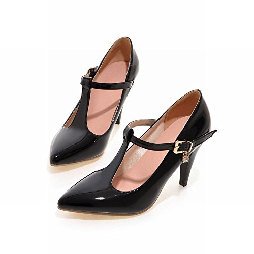 Mee Shoes Damen T-Strap spitz Schnalle high heels Pumps Schwarz
