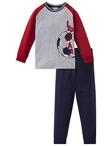 Schiesser Jungen Fußball Kn Anzug lang Zweiteiliger Schlafanzug, Grau-Mel. 202, (Herstellergröße: 128)