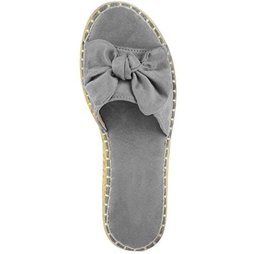 NUOVO da donna comodo passanti Scarpe basse FERMACAPELLI Espadrillas FIOCCO Pantofole NUMERO 3-8 Grigio Finto Scamosciato