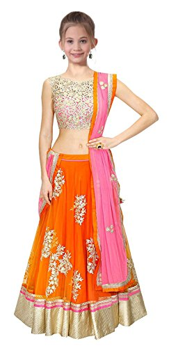 Market Magic World Girl\'s Wear Net Embroided Semi Stitched Lehenga Choli (MMW-00427_Free Size_8-12 Year Age_Orange)