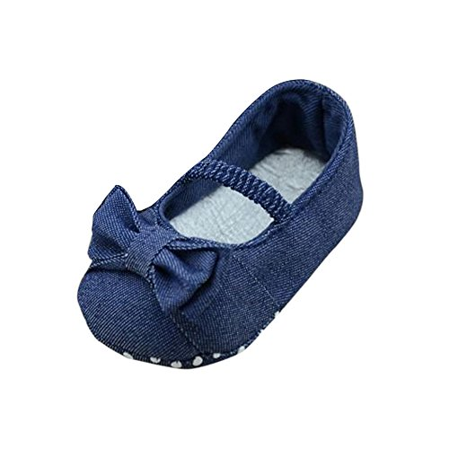 FALAIDUO Infant Bowknot Denim Toddler Princess First Walkers Girls Shoes (UK 1.5 (Age:0~4 Month), Blue)