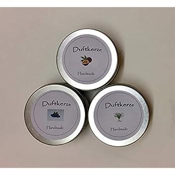 3er Set Duftkerzen handmade by Kathy Zitronengras, Blaubeere und Passionsfrucht