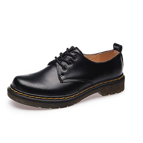 Shenn Mujer Low-Top Uniforme Vestir Confortable Oxfords Cuero Zapatos (Negro,EU37)