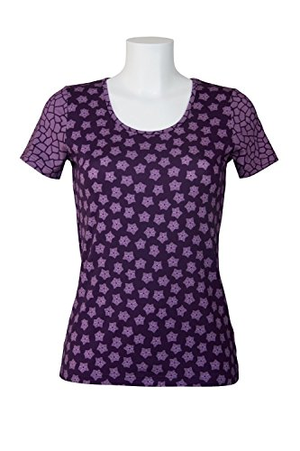 fashion4EVA Rundhals-Kurzarmshirt Mustermix Made in Germany Streublumen grape royal