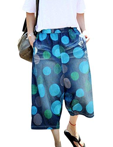 Hose Jeans Wide Leg Jeans (Youlee Frauen Sommer Big Gepunktete Elastische Taille Capri-Jeans Wide Leg Hose Blau)