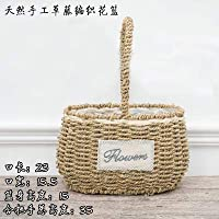 suxiaopei Rattan fleshy flower pots dried flowers green radish creative flower basket straw hand-woven woven ins wicker basket decorative ornaments portable oval basket