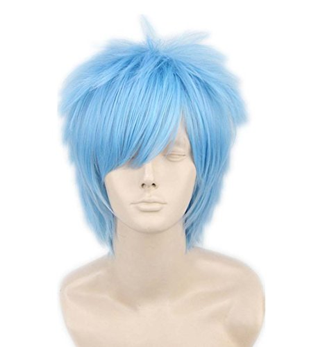 etruke Anime court Bleu clair Cheveux Bleu Parti Cosplay Perruques