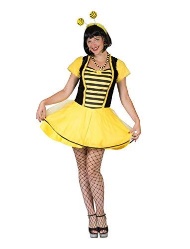 Frauen Kostüm süßes Bienen Kleid mit Streifen, Bee Dress, perfekt für Karneval, Fasching und Fastnacht, L/XL, Gelb ()