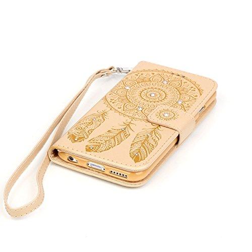 Für iPhone 6S Plus Strap Lanyard Tasche Hülle,Funyye Für iPhone 6 Plus Wallet Leder Flip Schutzhülle Zubehör,Book Style Retro [Campanula Henna Feder Traumfänger Muster] PU Leder Wallet Case Diamant Bl Campanula #4