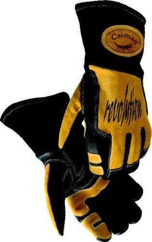 Kaimane 1832–5große Metall Inertgas und Stick Schweißen Handschuh mit Kuh Leder und Index Trigger Patch Cooles Design Wellig Schaumstoff (Stick-schweißen Handschuhe)