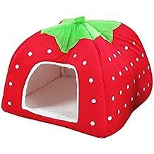 JEELINBORE Suave Caliente Perro Gato Cama Fresa Cálido Plegable Casita Casa para Mascota (Rojo,