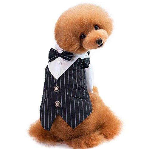Yueunishi Hund Tuxedo, Hund Kostüme Shirt Anzug, Anzug Schlucken, Hochzeitsanzug Kleidung mit Einer Fliege, 2 Farben 5 Größen (S, Schwarz) (Kostüm Eines Hundes)
