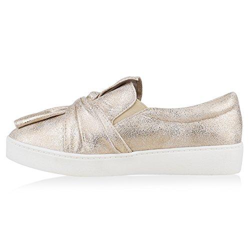Damen Slip-ons Kroko Optik Sneakers Metallic Slipper Bequem Gold Bernice Schleifen