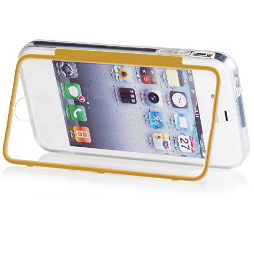 Apple iPhone 4/4S | iCues Transparent Touch TPU Case Pink | Water Resist Full-body Protection Heavy Duty Cover with Built-in Screen Protector [Impact Resistant Bumper] Clear Gold
