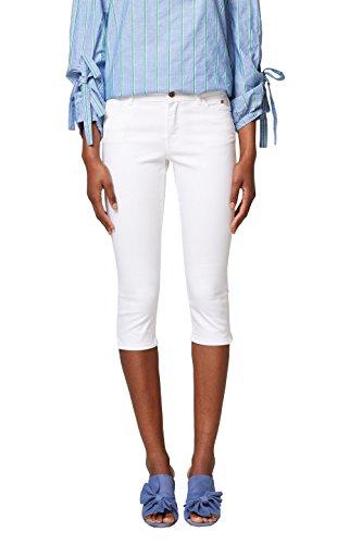 edc by ESPRIT Damen Slim Jeans 038CC1B010, Weiß (White 100), - Weiße Capri-jeans