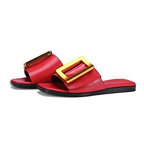 FARALY Leather Flats Metal Big Square Buckle Mule Slippers , red , 35