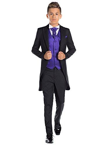 Paisley of London, Jungen Schwarz Kostüm zu Schwanz, Jungen Morning Halt, Jungen Stinkefinger Halt, 12-18Monate-13Jahre Gr. 10 Jahre, - Kostüm Noir Cravate Noire