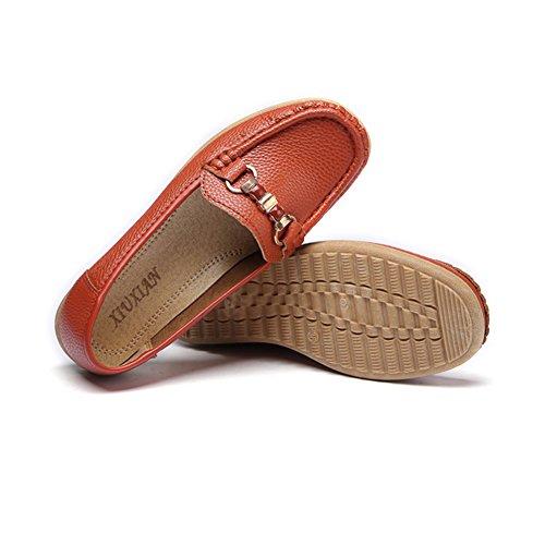 Damen Sparziergang Schuhe Anti-Rutsch Weich Sohle Kunstleder Low-Top Schuhe Orange