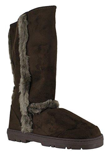 Ella Damen Stiefel Kunstfell Winter Schnee Warm Fashion Boots–Massive Auswahl, Mandy - Brown - Größe: 40.5 (Brown Faux-pelz-stiefel)