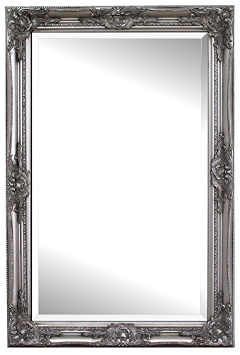 Espejo Pared - Estilo Barroco - Shabby Chic Espejo Grande 90x60 cm - Plata