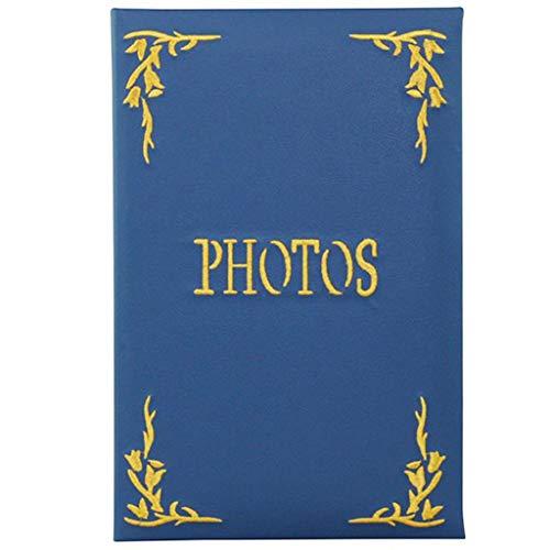 FOOHAO- Album photo PU interstitiel, collection de photos de broderie Vintage, contient 240 photos -15.2CM * 11.4CM (Couleur : Bleu)