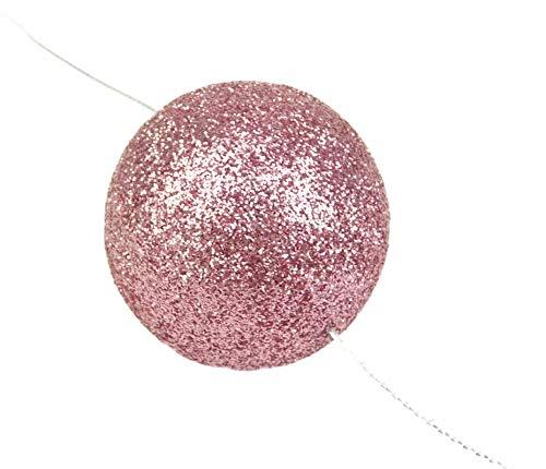 Packung von 3-2 Meter Baby Pink/Blush Pink Glitter-Ball Garland - Weihnachten Decoation Garland Blush