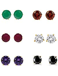 b5f32b144b Archi Collection Jewellery Combo of Gold Plated American Diamond Earrings  Studs for Girls and Women