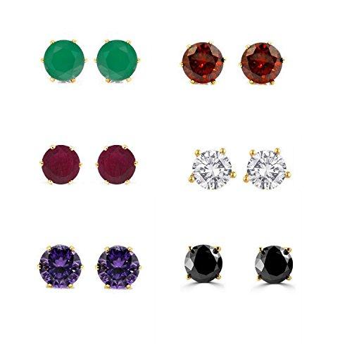 efulgenz Jewelry 14K vergoldet Zirkonia hypoallergen Ohrstecker Set für gepiercte Ohren (6Paar) (Gold Strümpfe Und Weihnachten Rot)