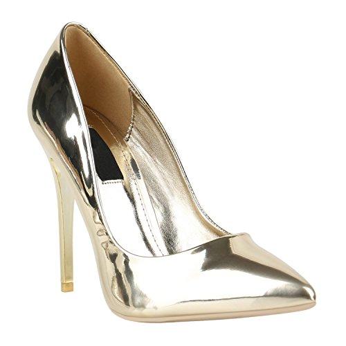 Elegante Damen High Heels Spitze Pumps Lack Metallic Stiletto Samt Glitzer Nieten Abend Business Schuhe 142127 Gold Lack 35 Flandell Metallic-stiletto Heel