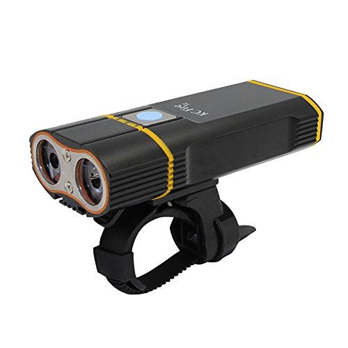USB aufladbare Bike Light, KC Fire Super helle 2000Lumen CREE xml-l2LED Wasserdicht Fahrradlampe–einfach Installation Radfahren Taschenlampe (Low-light-level)