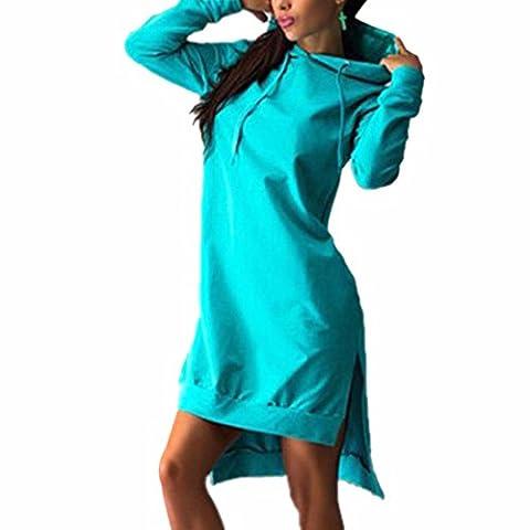 QIYUN.Z Frauen Baumwoll Mischungen Unregelmaessiger Rand Kleid Pullover Mit Langen Aermeln (Vestiti Lunghi)
