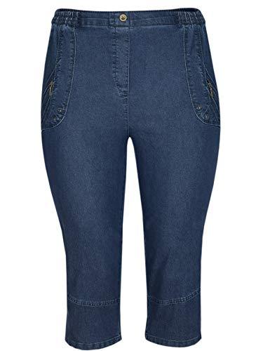 T-MODE Damen Caprihose Stretch Capri-Jeans mit Schlupfbund-Dark-Blue-42 -